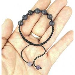 Bracelet boule 6mm améthyste 7 pierres réglable