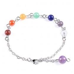 Bracelet chaîne 7 chakras 7 boules 6mm en pierres naturelles