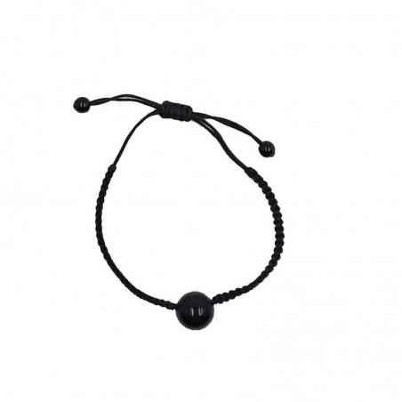 Bracelet Perle obsidienne œil céleste réglable