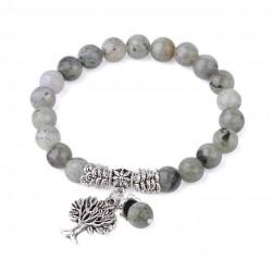 Bracelet Labradorite 8 mm avec arbre de vie
