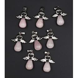 Pendentif goutte quartz rose ailes d'ange