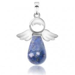 Pendentif goutte lapis-lazuli ailes d'ange