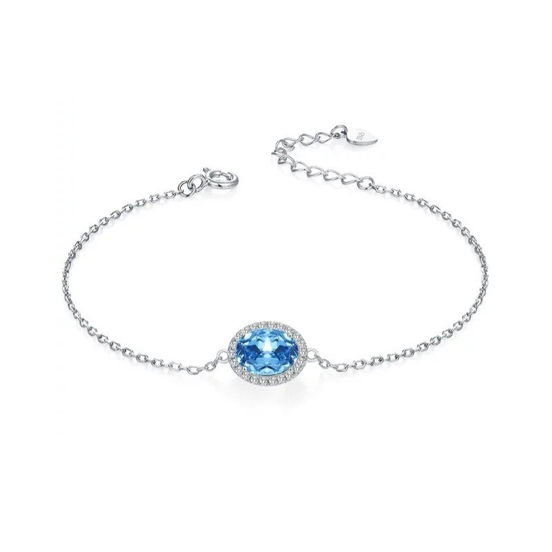 Bracelet Topaze bleu chaînette serti argent 925