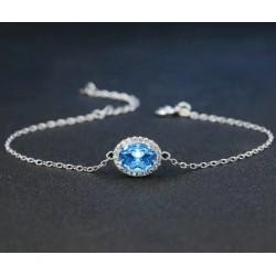 Bracelet Topaze bleu chaînette