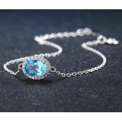 Bracelet chaînette  Topaze bleu