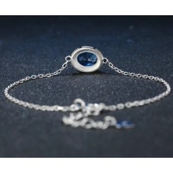 Bracelet pierre Topaze bleu chaînette