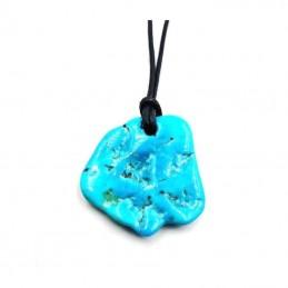 Pendentif Turquoise pièce unique avec cordon REF10