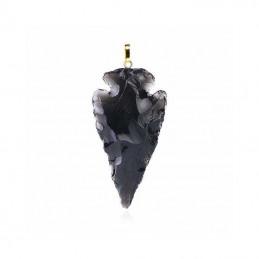 Pendentif - Flèche - Pierre Obsidienne noire - Pierre d'oracle