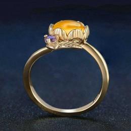 Bague anneau Citrine Fleur argent 925