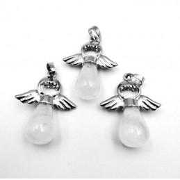 Pendentif goutte cristal de roche laiteux ailes d'ange