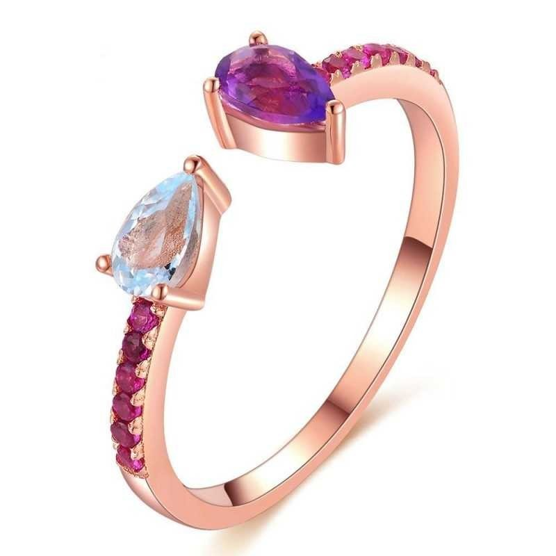 Bague anneau larme Topaze bleu et Améthyste argent 925