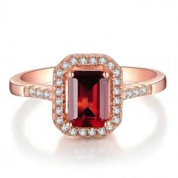 Bague anneau grenat rouge facette argent 925
