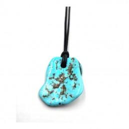 Pendentif Turquoise pièce unique avec cordon 8GR