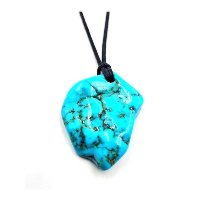 Pendentif Turquoise pièce unique avec cordon REF9