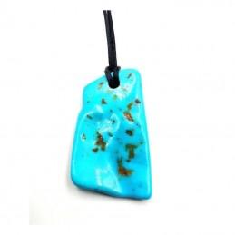 Pendentif turquoise pièce unique avec cordon REF4