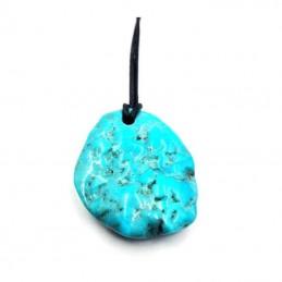 Pendentif turquoise pièce unique avec cordon REF6