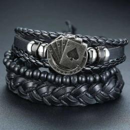 Bracelet cuir poker Quinte Flush Royale