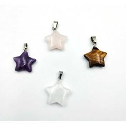 4 pendentifs étoile œil de tigre Quartz rose cristal roche Améthyste