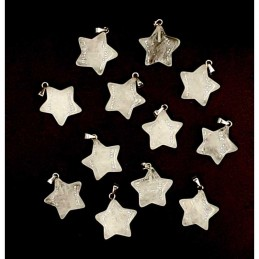 Pendentif étoile 5 branches pierre cristal roche laiteux