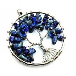 Pendentif arbre de vie rond Lapis-Lazuli