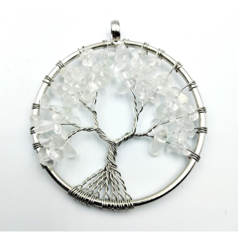 Pendentif arbre de vie rond cristal de roche