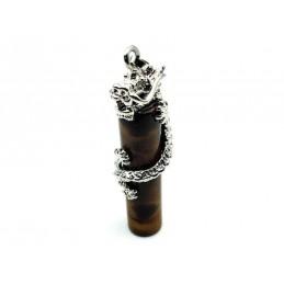 Pendentif dragon cylindre Pierre œil de tigre