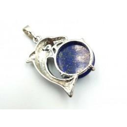 Pendentif dauphin avec pierre cabochon lapis-lazuli