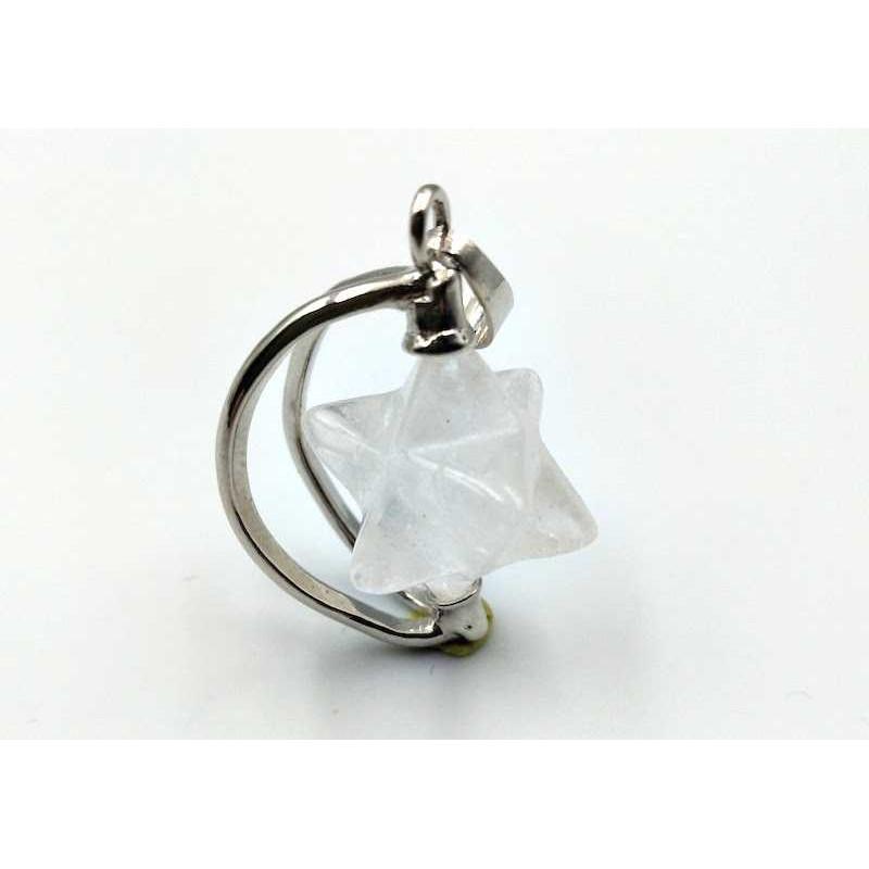 Pendentif Merkaba pierre cristal de roche laiteux