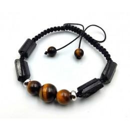Bracelet tourmaline noire brut avec œil de tigre