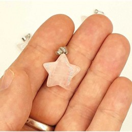 Pendentif étoile 5 branches pierre Quartz rose