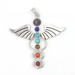 Pendentif aile d'ange 7 pierres chakras