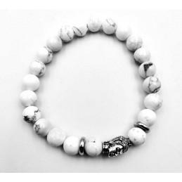 Bracelet tête de Bouddha pierres Howlite blanche 8 mm