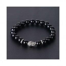 Bracelet tête de Bouddha pierres onyx noir 8 mm