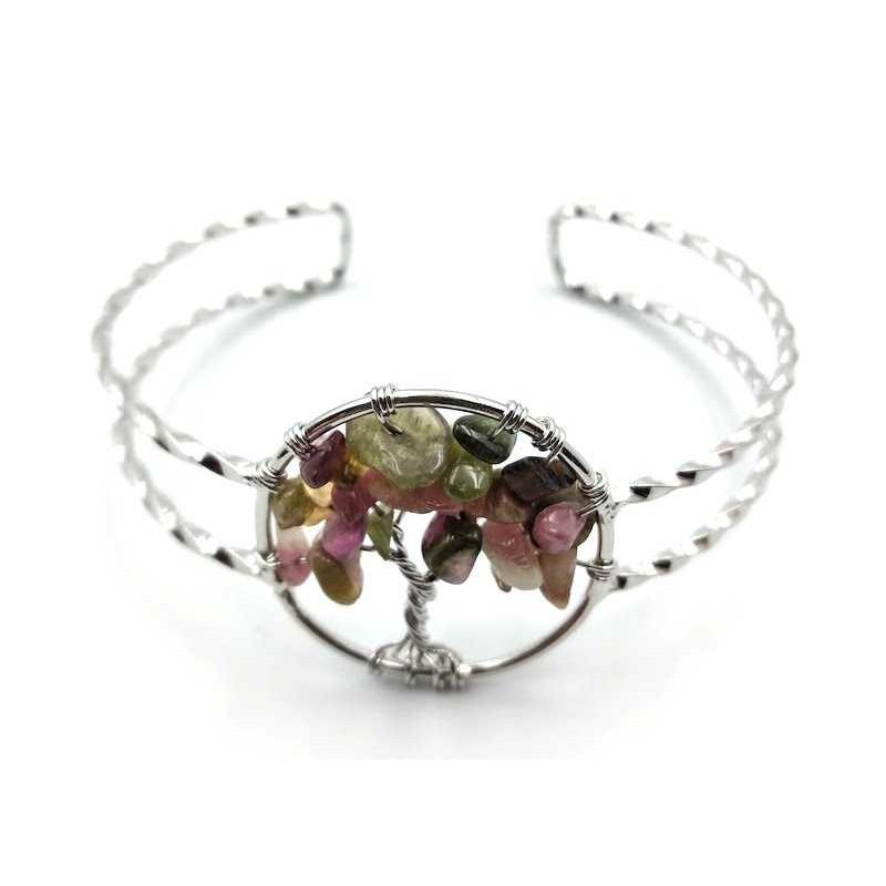 Bracelet arbre de vie tourmaline multicolore baroque réglable
