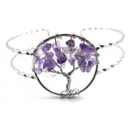 Bracelet arbre de vie améthyste baroque réglable