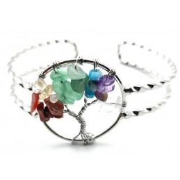 Bracelet arbre de vie 7 chakras pierres baroque réglable