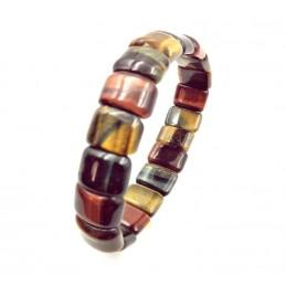 Bracelet plaquettes pierres œil de tigre œil de faucon œil de taureau