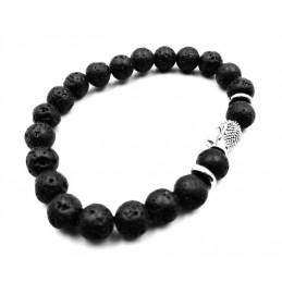 Bracelet tête de Bouddha pierres de lave 8 mm