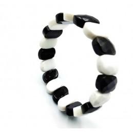 Bracelet Quartz fumé et cristal roche laiteux pierres facettée