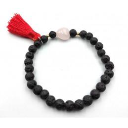 Bracelet pierre de lave coeur Quartz rose et pompon