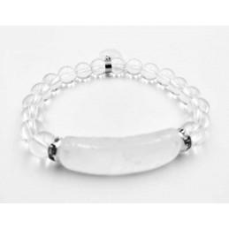 Bracelet cristal de roche forme gourmette avec coeur perles 8 mm