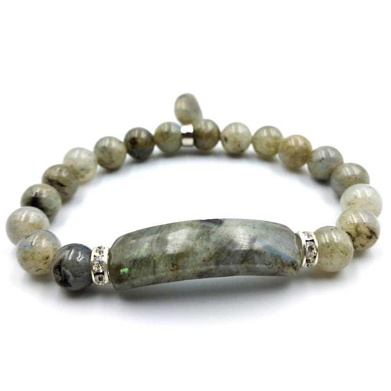 Bracelet labradorite forme gourmette avec coeur perles 8 mm