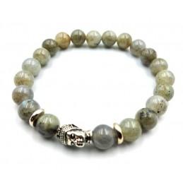 Bracelet tête de Bouddha pierres Labradorite 8 mm
