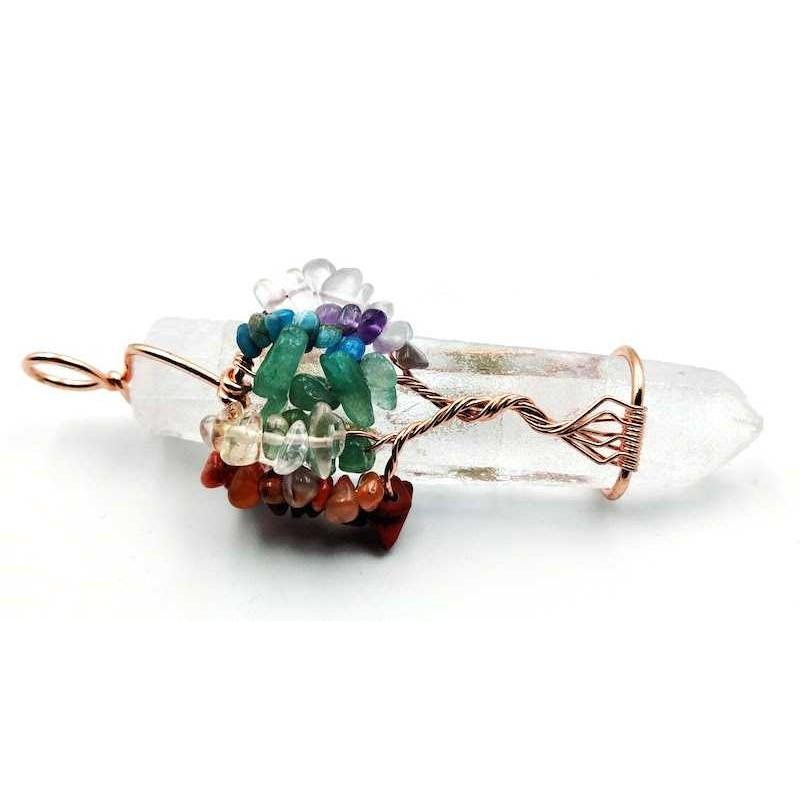 Pendentif cristal de roche brut avec arbre de vie ref2