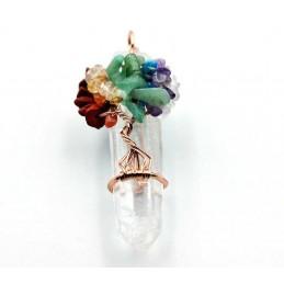 Pendentif cristal de roche brut avec arbre de vie ref3