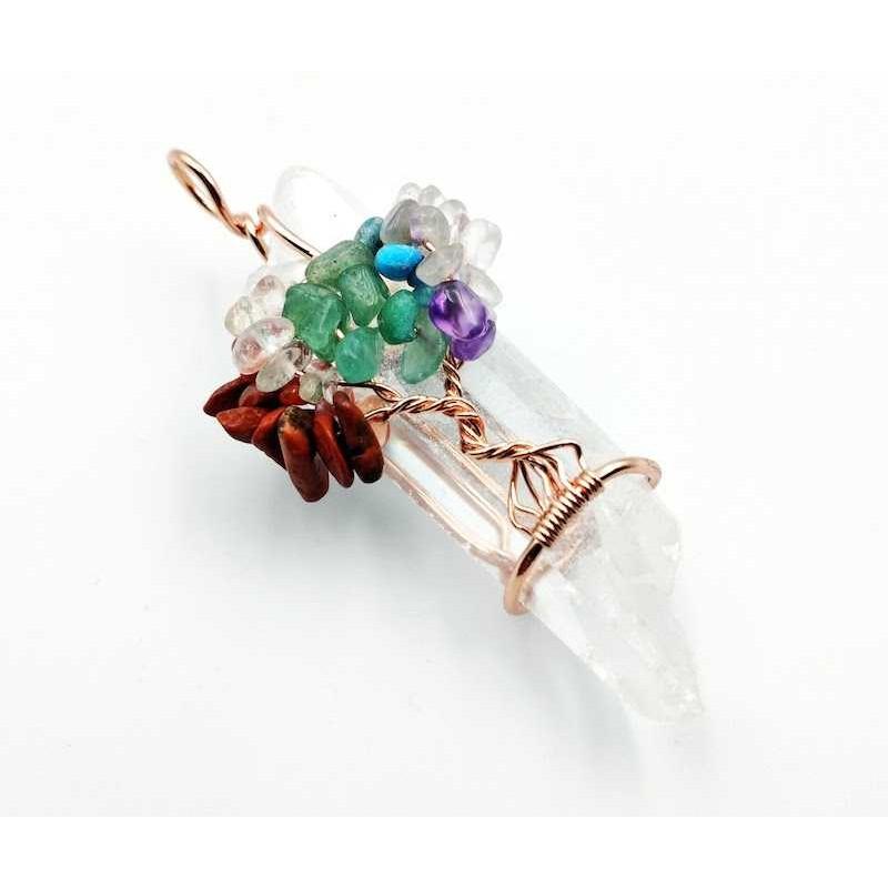 Pendentif cristal de roche brut avec arbre de vie ref4