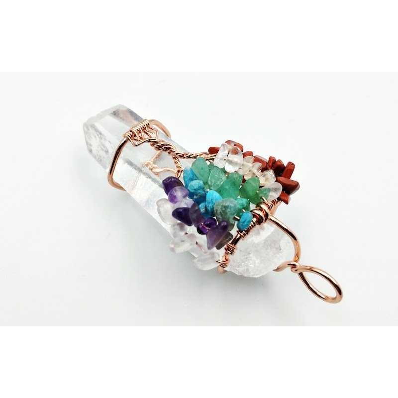 Pendentif cristal de roche brut avec arbre de vie ref5