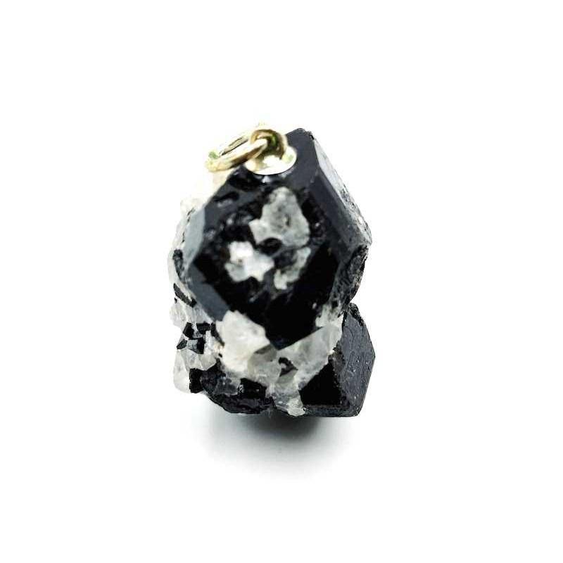 Pendentif tourmaline noire cristaux brute