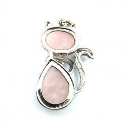 Pendentif chat 2 pierre quartz rose