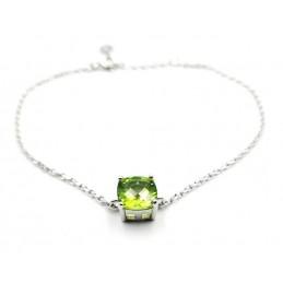 Bracelet chaînette peridot serti argent 925